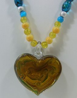 Custom Hand Made Necklace Turquoise Yellow Beads Painted Glass Heart