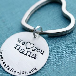 Sterling Silver Key Chain Hand Stamped Personalized Custom Mothers Day