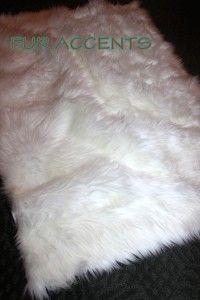 Arctic Wolf Skin Sheepskin Accent Rug Mink Rabbit Shag Pelt New