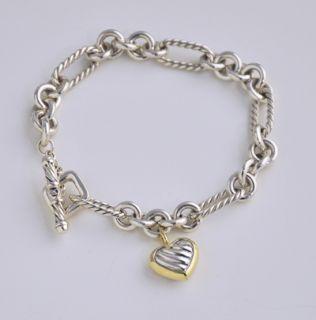 David Yurman cable heart charm figaro sterling silver 18k bracelet 395