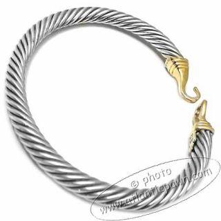 David Yurman Silver Gold Buckle Cable Bracelet