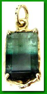 Tourmaline Pendant Custom Piece 3 0 grams Estate 14k Yellow Gold Green