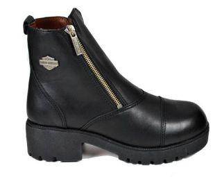Harley Davidson Starter Switch 6 Captoe Black Leather Boot 82016