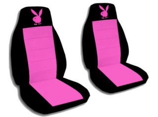 Cute Car Seat Covers Black Hot Pink Velour with Hot Pink Bunny Cool