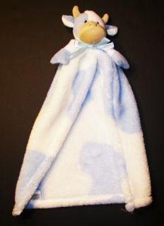 Cutie Pie Baby Blue White Cow Security Blanket