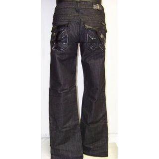 Mens Laguna Beach Dana Point Black Boot Cut Jeans Double Stitch