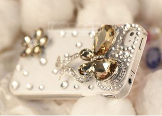 3D Luxury Bling Crystal Bow Clear Case Cover Skin For iPhone 4 4G 4S