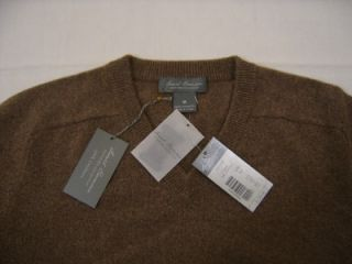 New $225 Daniel Cremieux 100 Thick Cashmere Sweater Men M Brown V Neck