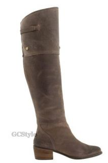 Daniblack Rebel Knee High Leather Boots with Spats Gray Taupe 8 9 5
