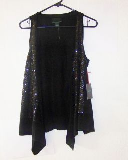 CYNTHIA ROWLEY womens sequined Open front SWEATER VEST Black S