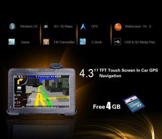 Navegador GPS 3D 4 3 Panalla acil Regalo SD 4GB Mapas