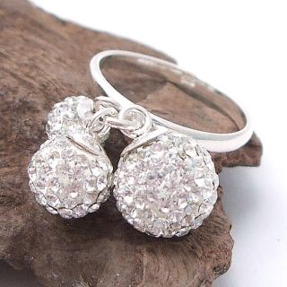 balls white cz sterling silver ring 8 rings cubic zirconia dangle sha