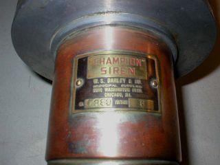 Antique Siren Champion Darley 6 Volt Good Condition Fire Chiefs Car