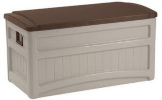 Large Suncast 73 Gallon Patio Deck Storage Box Seat Top Seating