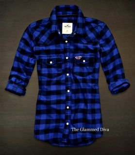 New Hollister by Abercrombie Snap Front Plaid Flannel Shirt Rockpile L