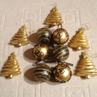 Selection Of Gold And Black gold Christmas Bauble Tree Decorations