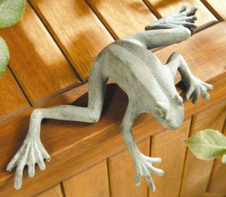 description curious frog shelf sitter decorative accent hand finished