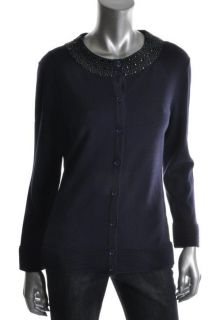 Rachel Roy New Blue Jeweled Neck Button Front Ribbed Trim Cardigan Top