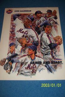 1990 New York Mets Calendar Schedule Strawberry Gooden