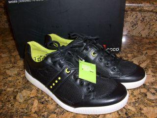 NEW IN BOX ECCO Mens Street Textile Golf Sneakers Black Textile 150554