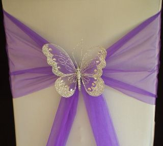 XL Butterfly Wedding Chair Sash Decoration Top Table Gold or Silver