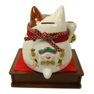 Japanese Lucky Cat Cattery Damo Money Box Bank Wooden