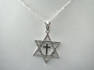 Mens Sterling Messianic Star of David Cross Necklace