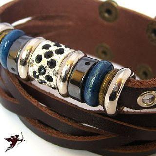 Leather Wristband Bracelet Metal Bead Ethnic Tribal Emo