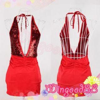 Sexy Red Womens Lingerie Sequins Deep V Babydoll Dress Party Clubwear