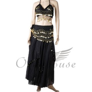 High Quality Belly Dance Dancing Costume Bra Skirt 128 Coins Hip Scarf