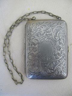 Victorian Art Nouveau Silver Dance Coin Purse Card Case Powder Compact