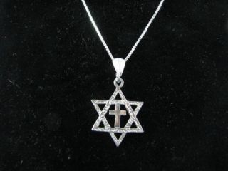 Sterling Silver Messianic Star of David Cross Necklace