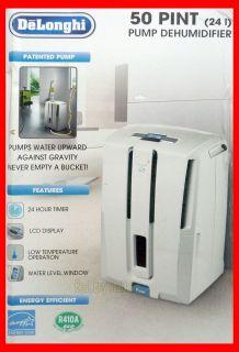 DeLonghi DD50P 50 Pint Energy Star Dehumidifier w/ Patented Pump