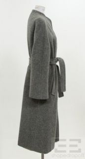 David Green Grey Button Front Belted Full Length Coat