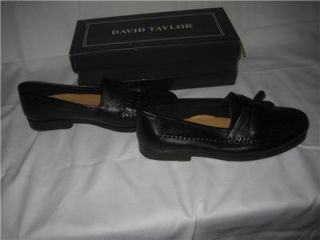 New Mens Black David Taylor Kennedy Tassle Loafers Dress Shoes Size