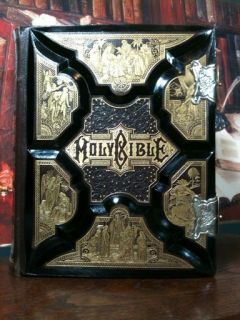 Antique Family Holy Bible Clasp Unmarked Leather Illuminated Steel