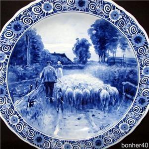1911s Blue White Dutch Royal Delft Holland Porceleyne Fles Charger