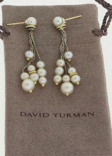 Genuine David Yurman 18K Gold Sterling Silver Pearl Tassel Drop