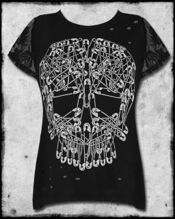 Abbey Dawn by Avril Lavigne Black Safety Pin Skull Womens Lace Sleeve