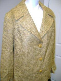 Dennis Basso Signature Gold Tweed Blazer 1X