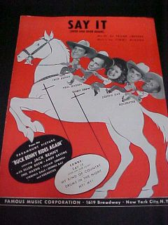 Sheet Music Say It Featuring Jack Benny Rochester Dennis Day