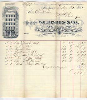Ephraim Baker Mount Olive VA 1881 Wm DeVries Dry Goods Baltimore MD 3