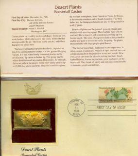 Desert Plant Beavertail Cactus 22K Gold Stamp Replica