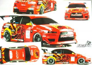 10 RC Decals Mitsubishi Lancer EVO 10 Suit Tamiya Hot Bodies