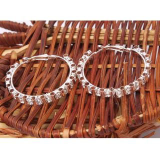 Clear Rhinestone Crystal Wheel Design Hoop Circle Earrings 4 Cm