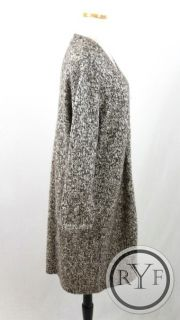 New DEANE & WHITE Brown WOOL BLEND Chunky Knit ZIP UP Long CARDIGAN