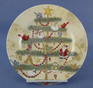 Holiday Home Salad Plate Debi Hron Christmas Tree Birds Santa Snowman