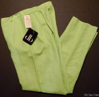 NEW David Brooks Lime Green Linen Pants Size 4 Petite Trousers Slacks