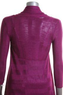 Designer Purple Ribbed Asymmetric Long Sleeve Open Front Cardigan Top