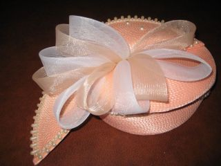 Vintage 70s Deborah New York Pink Church Hat White Faux Pearls Tulle